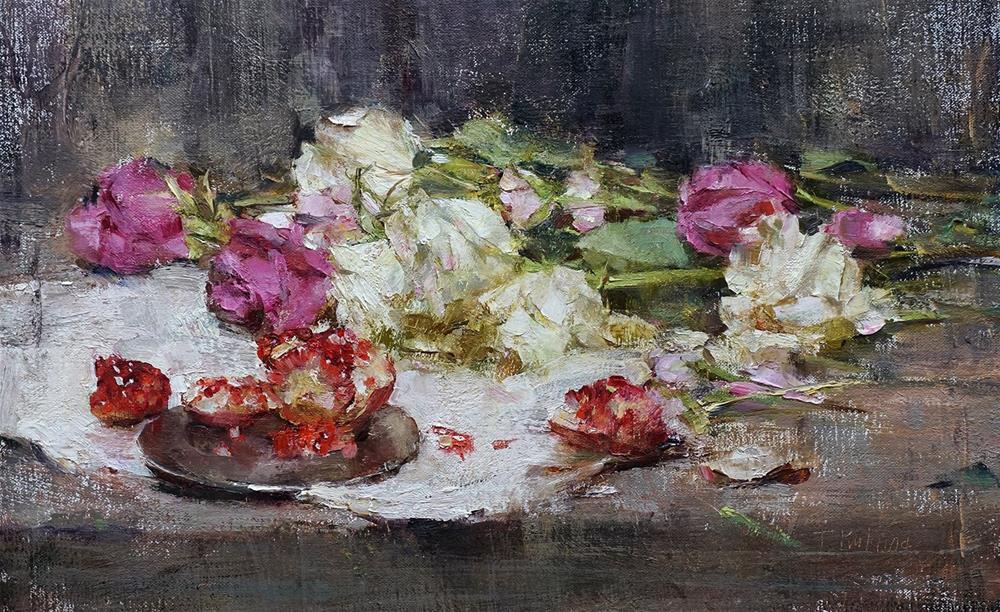 """Pomegranate and Roses"" original fine art by Taisia Kuklina"