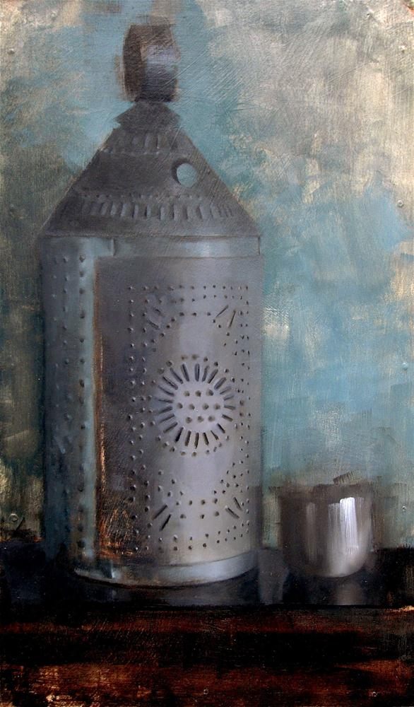 """""""Punched Tin Lantern and Metal Cup (no.93)"""" original fine art by Michael William"""