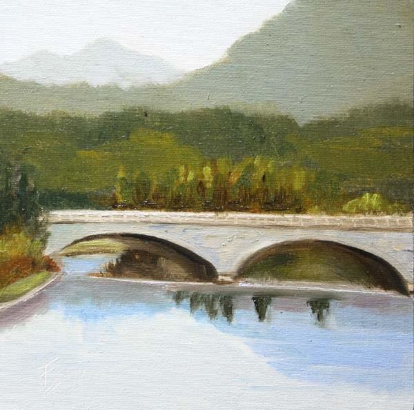 """Bridge Near Hongcun"" original fine art by Jane Frederick"