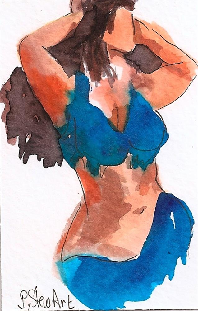 """""""ACEO Bellydancer #17, Loose Style Watercolor and Pen, Peacock Blue Costume"""" original fine art by Penny Lee StewArt"""