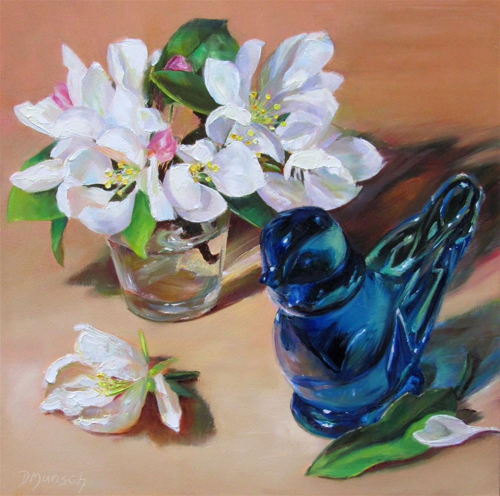 """""""Spring Blue Bird of Happiness"""" original fine art by Donna Munsch"""