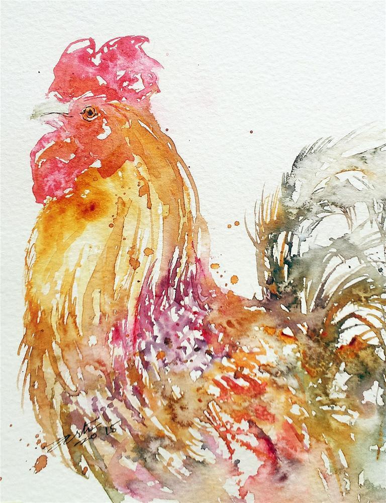 """""""Golden Cockerel"""" original fine art by Arti Chauhan"""