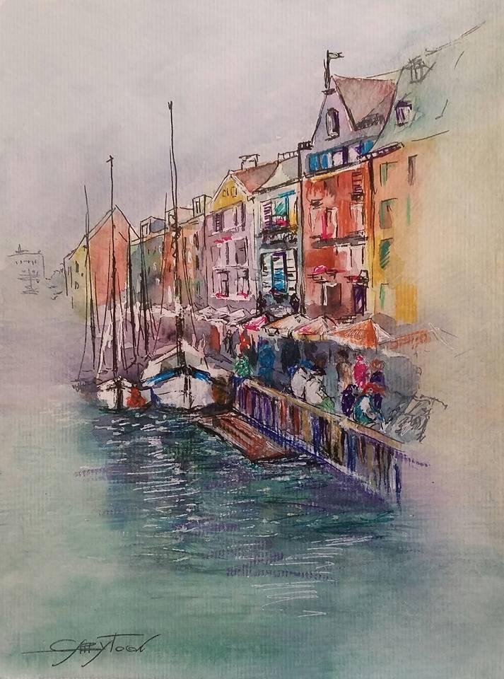 """Somewhere In Europe"" original fine art by Gabriella DeLamater"