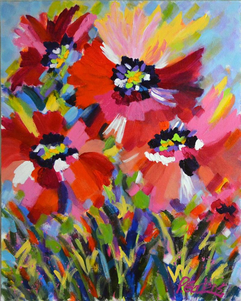 """""""Pink and Red Poppies"""" original fine art by Pamela Gatens"""