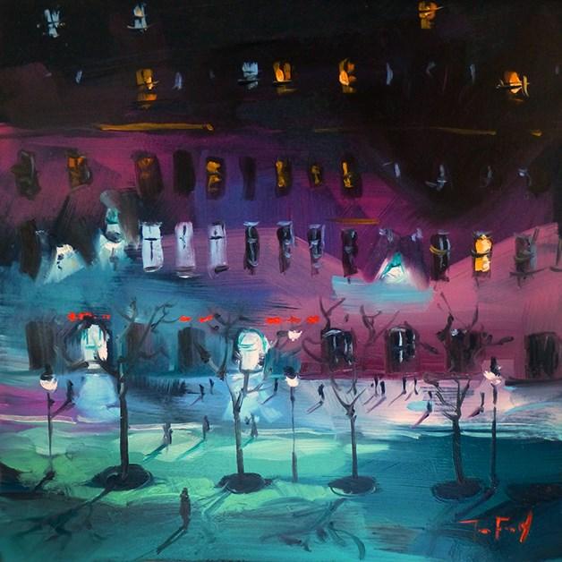 """""""Abend in der Stadt"""" original fine art by Jurij Frey"""