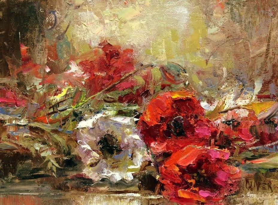 """""""Restingt Poppies"""" original fine art by Julie Ford Oliver"""