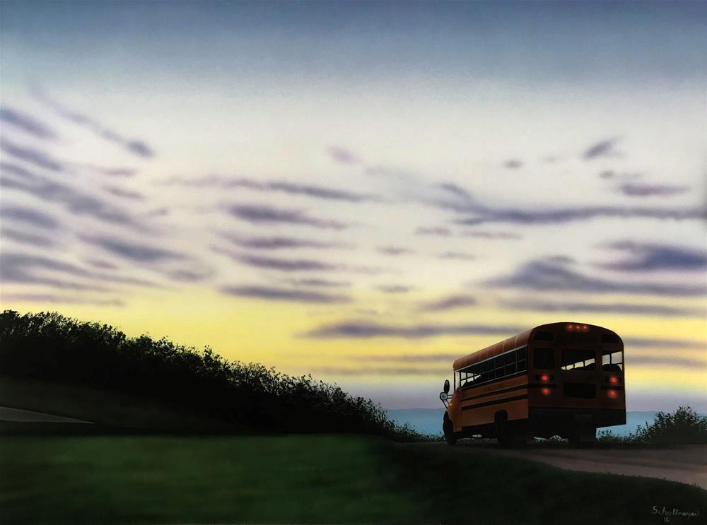 """""""Bus Ride at Dawn"""" original fine art by Fred Schollmeyer"""