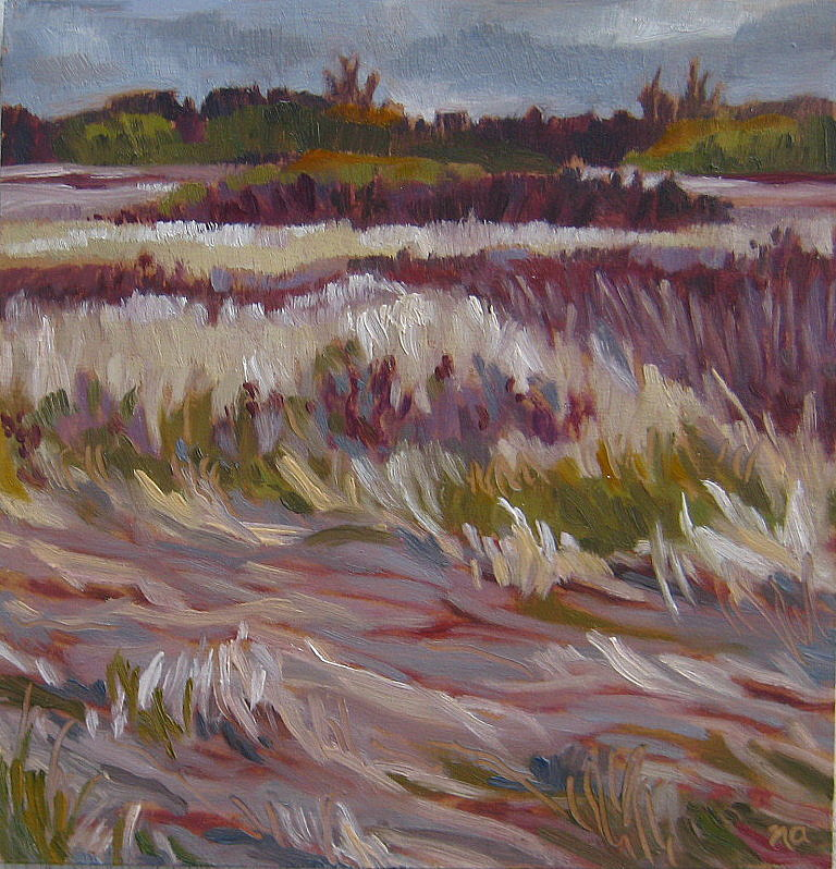 """""""Deer Bed at the Grasslands"""" original fine art by Nicki Ault"""