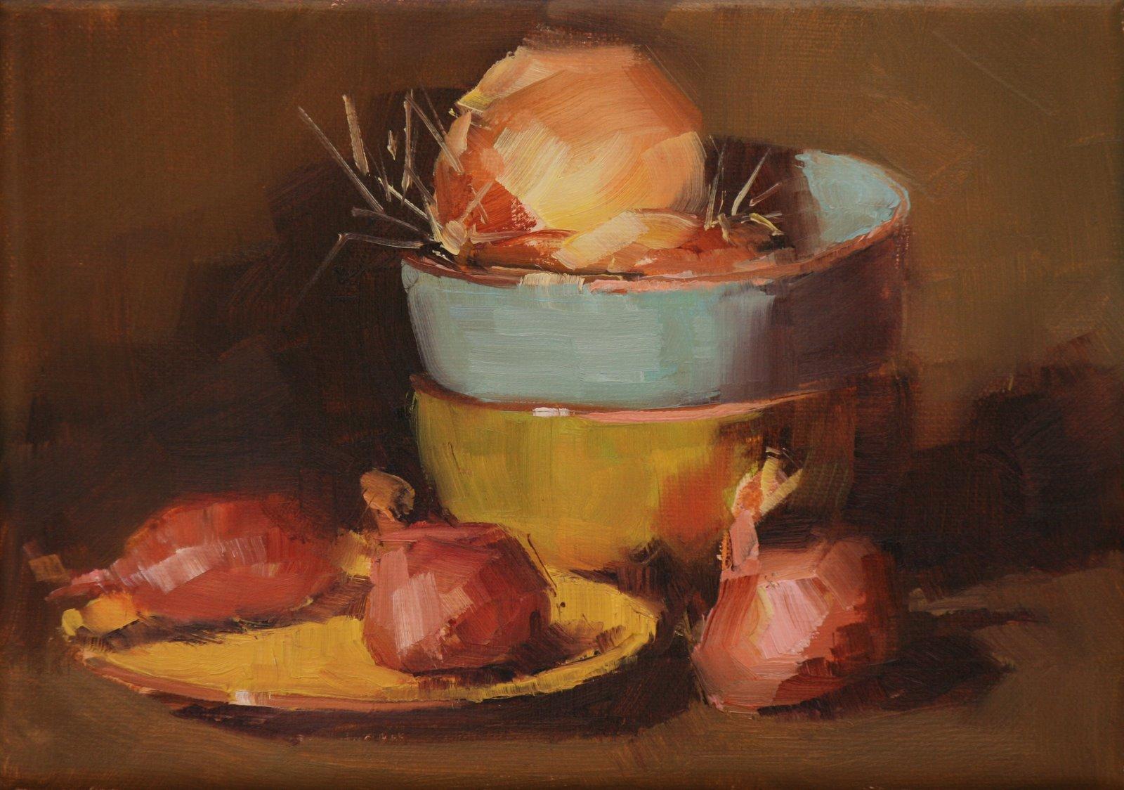 """onions and shallots"" original fine art by Carol Carmichael"