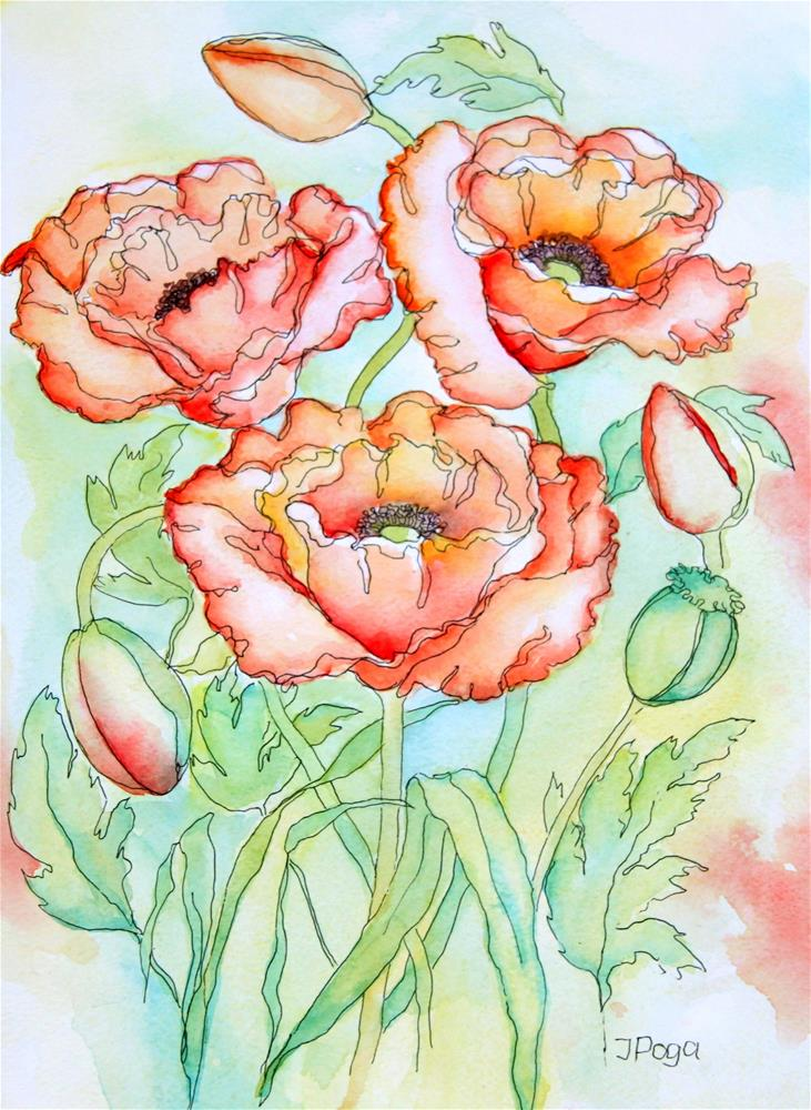 """Poppies, summer trio"" original fine art by Inese Poga"
