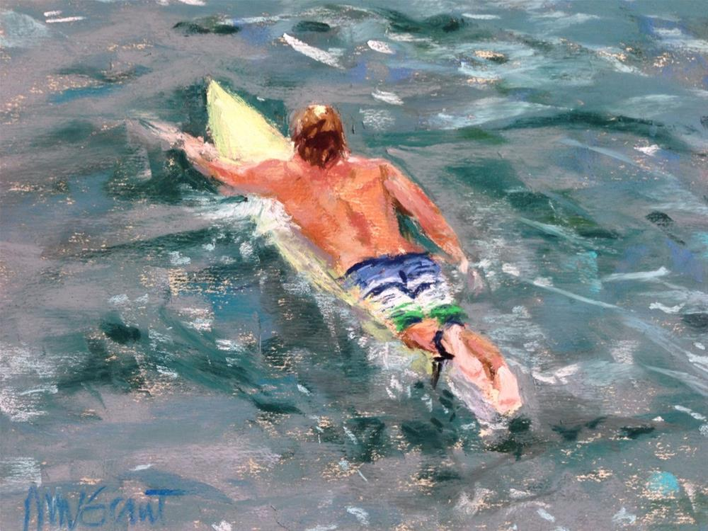 """""""Paddling Out"""" original fine art by Michelle Wells Grant"""