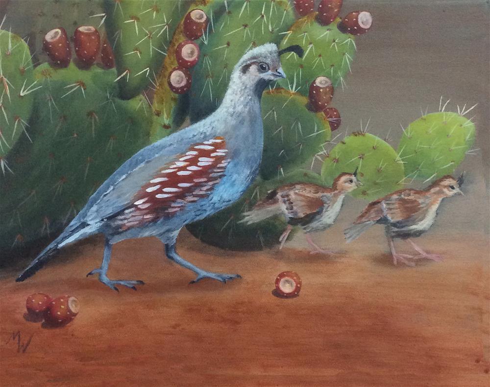 """Quail chicks"" original fine art by Michelle Wolfe"