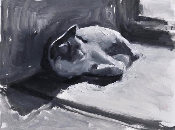 """By the Door Value Study"" original fine art by Sharon Savitz"