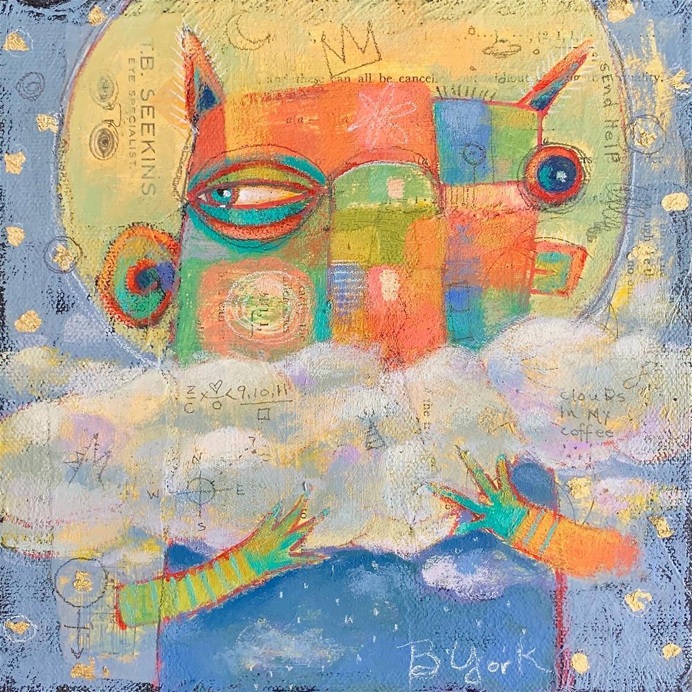 """""""Puff,  Angel Overseer Of iCloud Bewilderment"""" original fine art by Brenda York"""