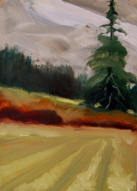 """""""Field Fir  plein air landscape painting"""" original fine art by Robin Weiss"""