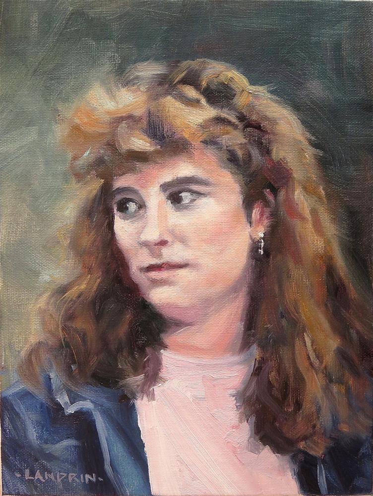 """Young Woman in Denim"" original fine art by Marjorie Landrin"