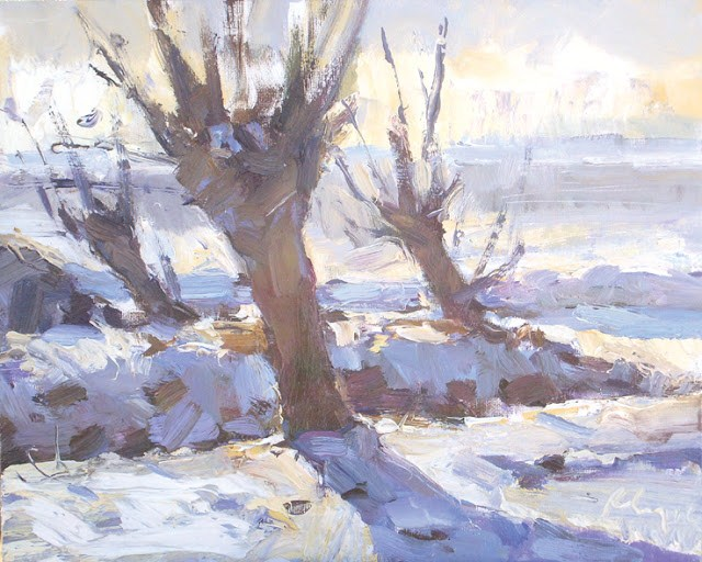 """Landscape winter #1 Morning willows"" original fine art by Roos Schuring"