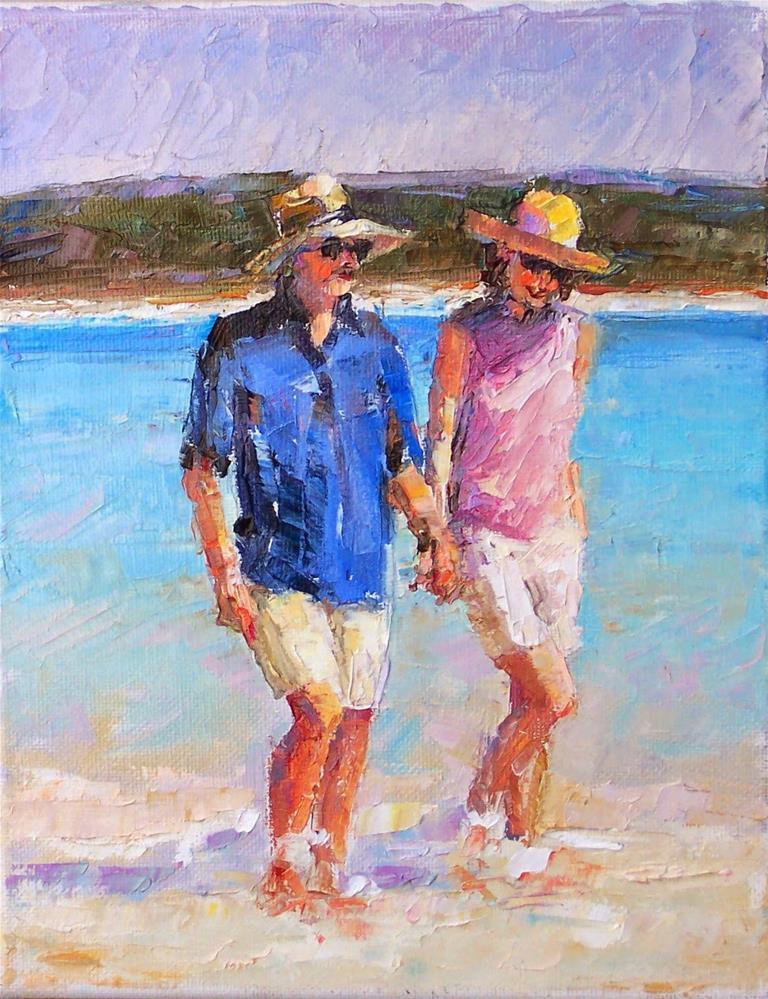 """Vacation,figure,oil on canvas,10x8,price$700"" original fine art by Joy Olney"