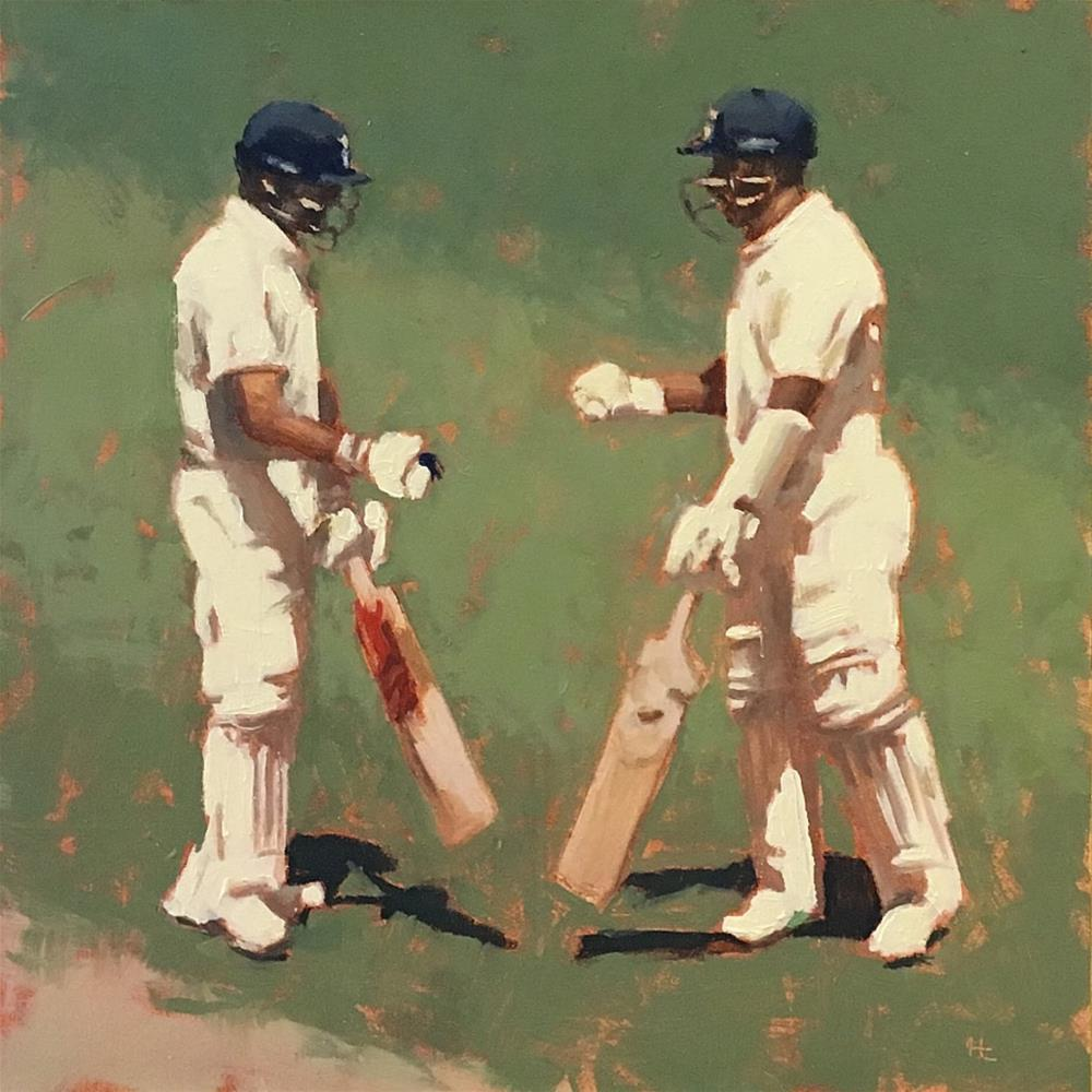 """TEAM INDIA - 7 - V Kohli & C Pujara"" original fine art by Helen Cooper"
