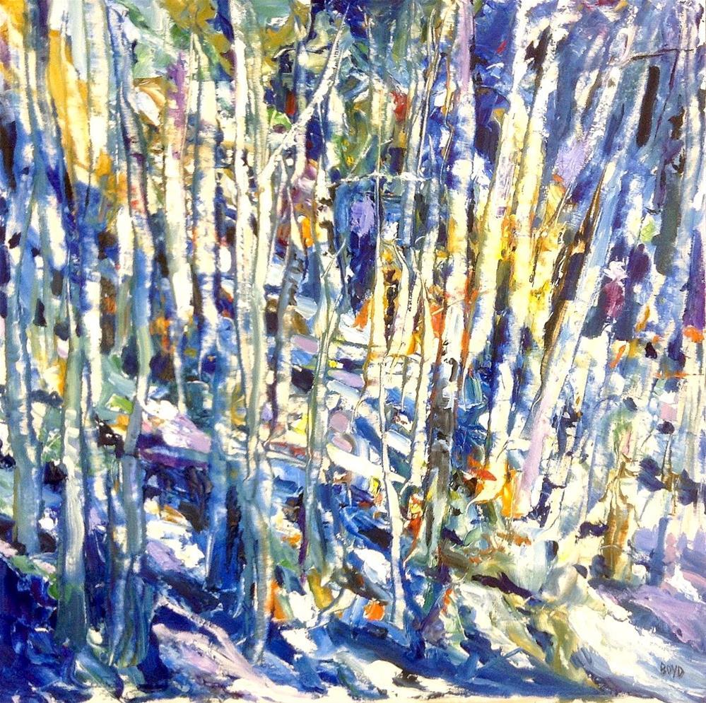 """""""Blue Birches"""" original fine art by Cathy Boyd"""