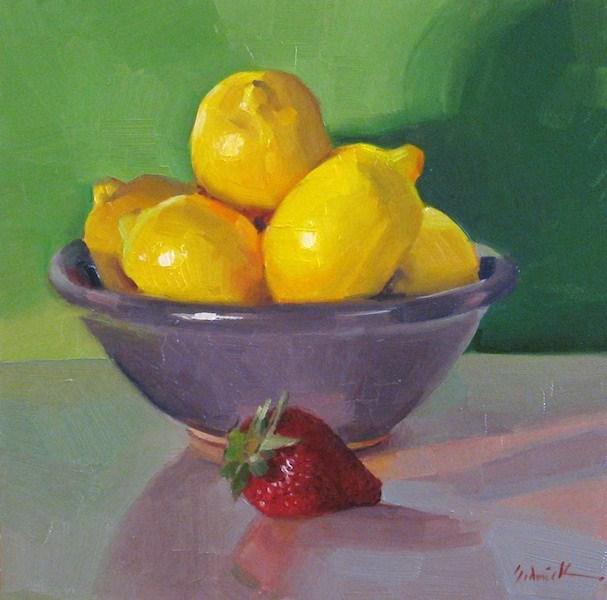 """Purple Bowl of Lemons daily painting still life fruit kitchen art yellow green"" original fine art by Sarah Sedwick"