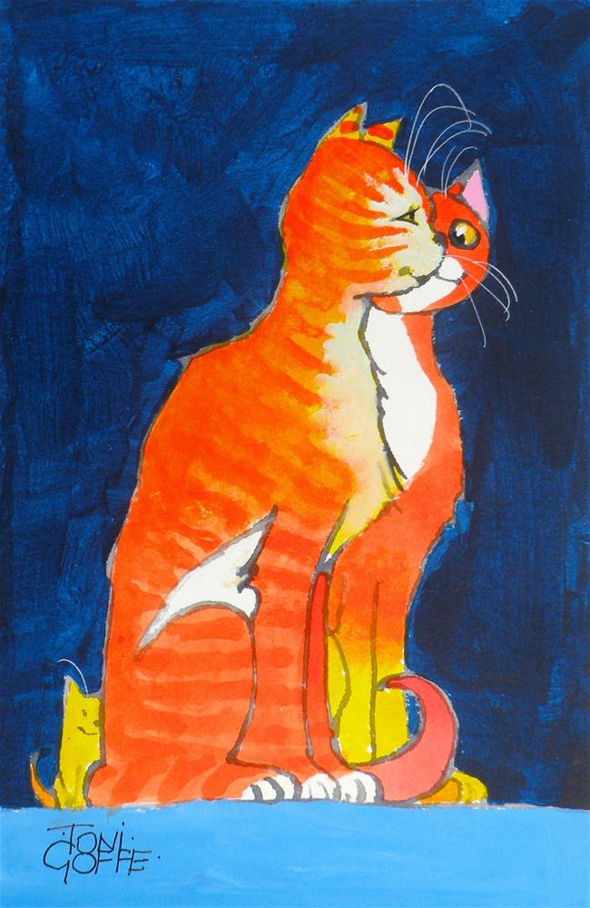"""""""Have You Seen Our Kitten ?"""" original fine art by Toni Goffe"""