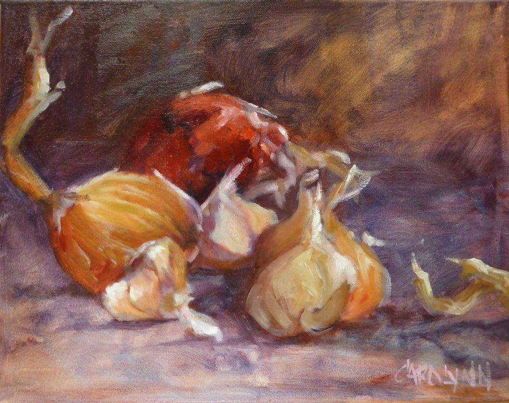 """""""Garlic and Onion Tails"""" original fine art by Carolynn Doan"""