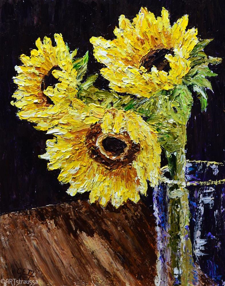 """SALE!!!Sunflower Trio"" original fine art by Gloria Ester"