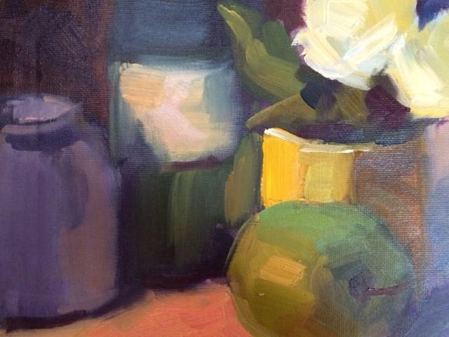 """Green Apple and Flowers"" original fine art by Naomi Bautista"