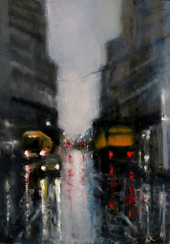 """Rainy Downtown Street"" original fine art by Bob Kimball"