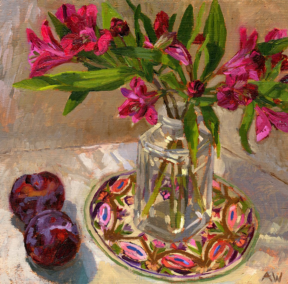 """""""Lilys and Plums"""" original fine art by Angie Wood"""