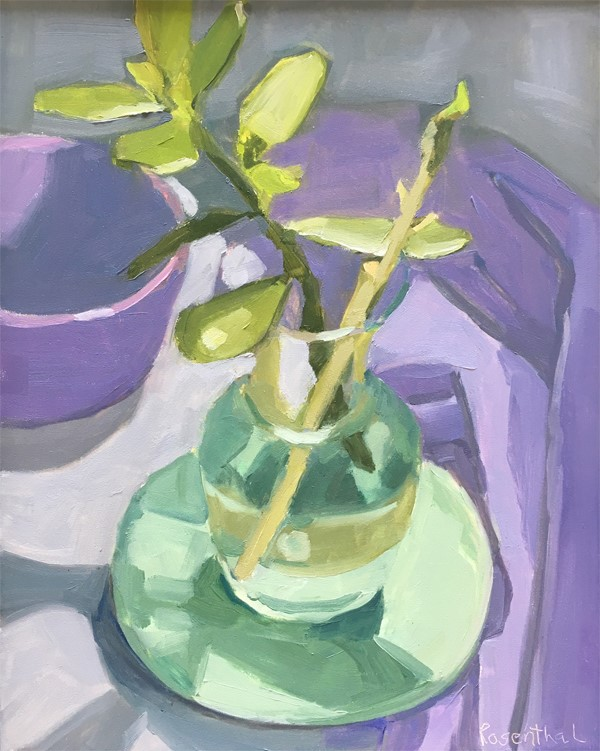 """Rubber Plant in Glass Vase"" original fine art by Robin Rosenthal"
