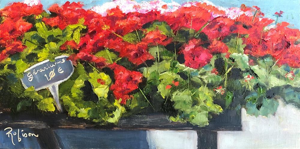 """""""French Market Geranium Cart"""" original fine art by Renee Robison"""