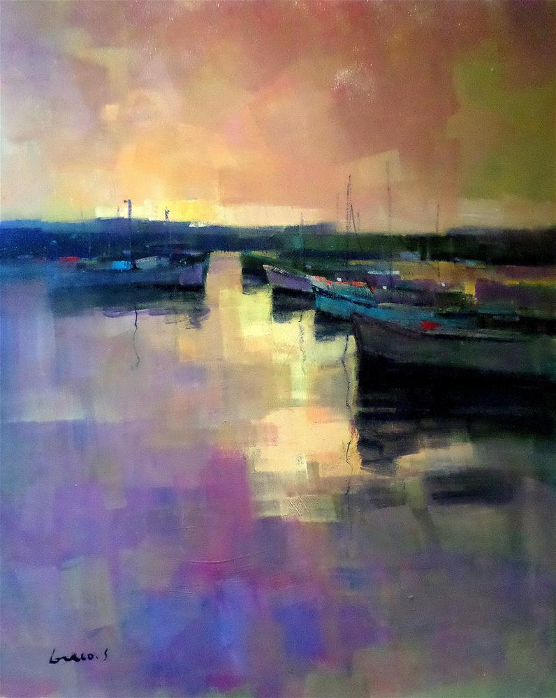 """""""Dawn on boats"""" original fine art by salvatore greco"""