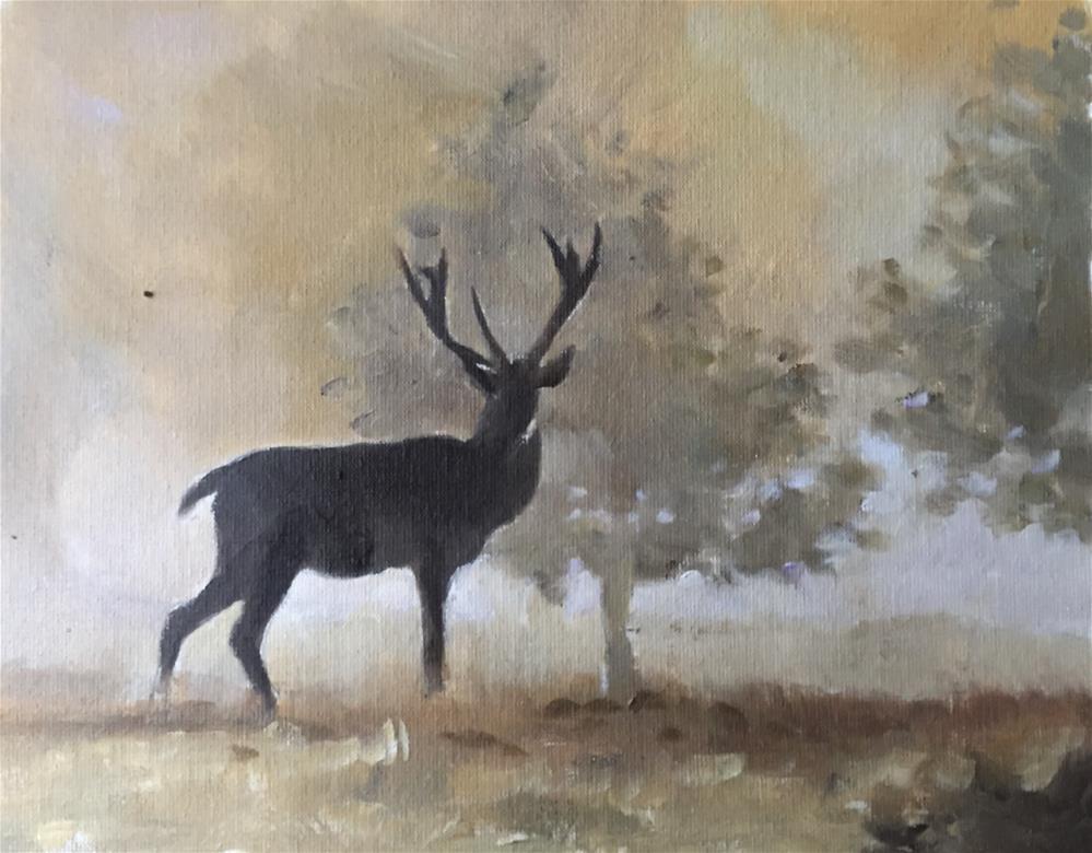 """Deer at Dawn"" original fine art by James Coates"