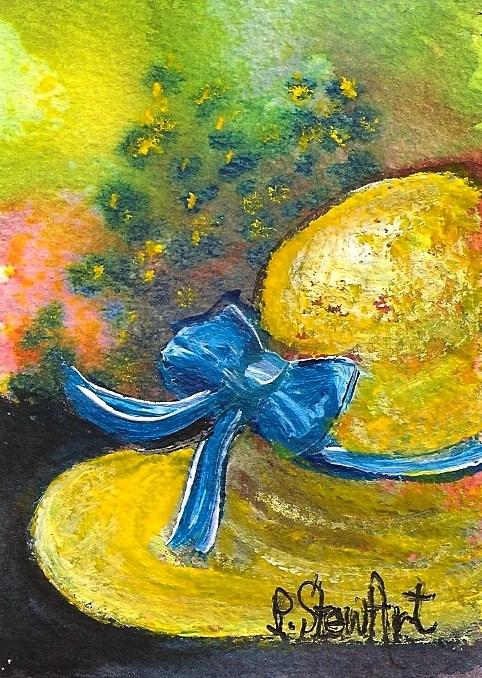 """""""ACEO Straw Hat Sun Bonnet Blue Ribbon Bow Flowers Original SFA Penny StewArt"""" original fine art by Penny Lee StewArt"""