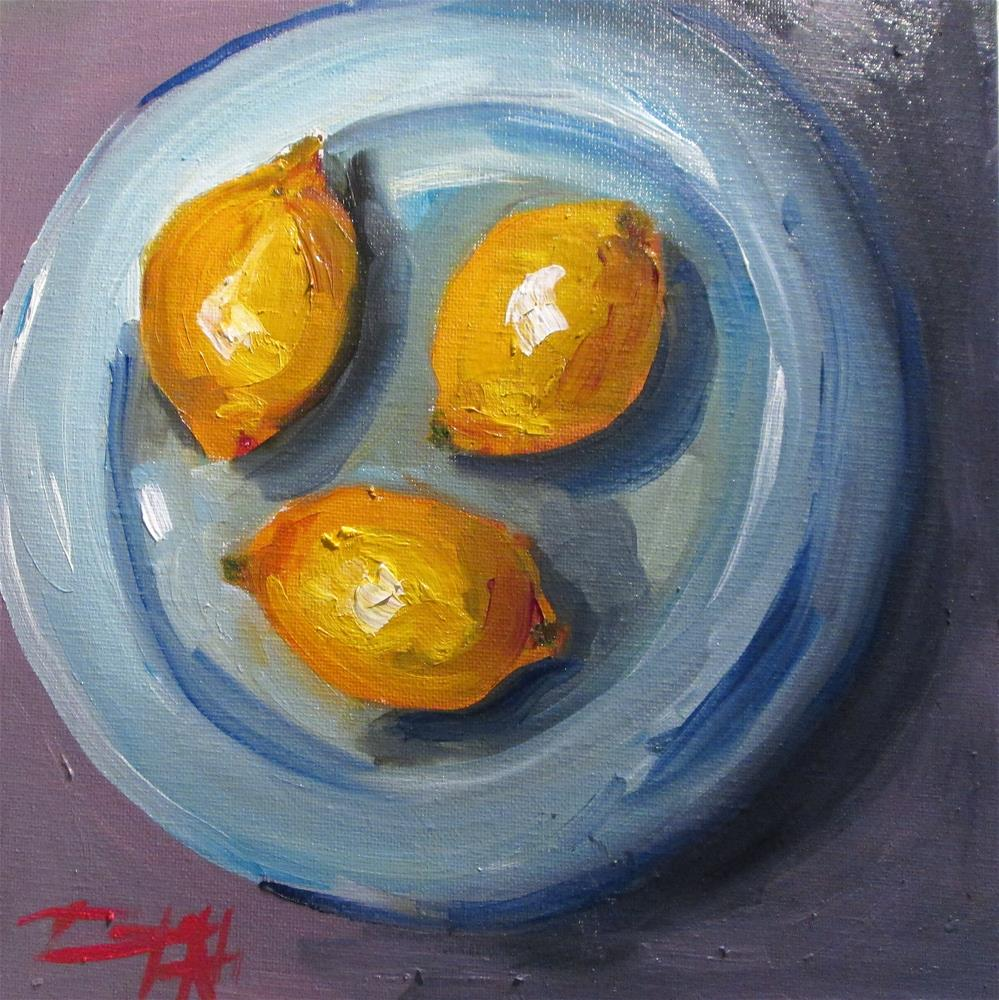 """Lemons on a Plate"" original fine art by Delilah Smith"