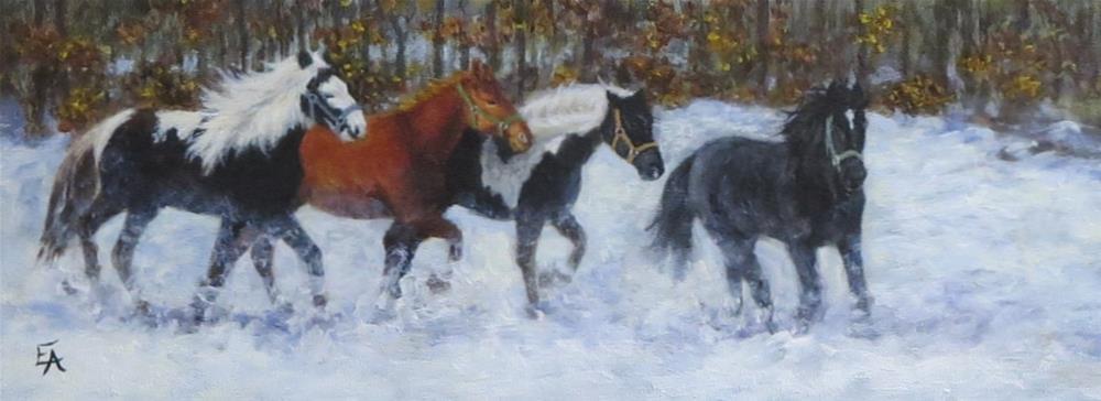 """Horses in the Snow (framed)"" original fine art by Elizabeth Elgin"