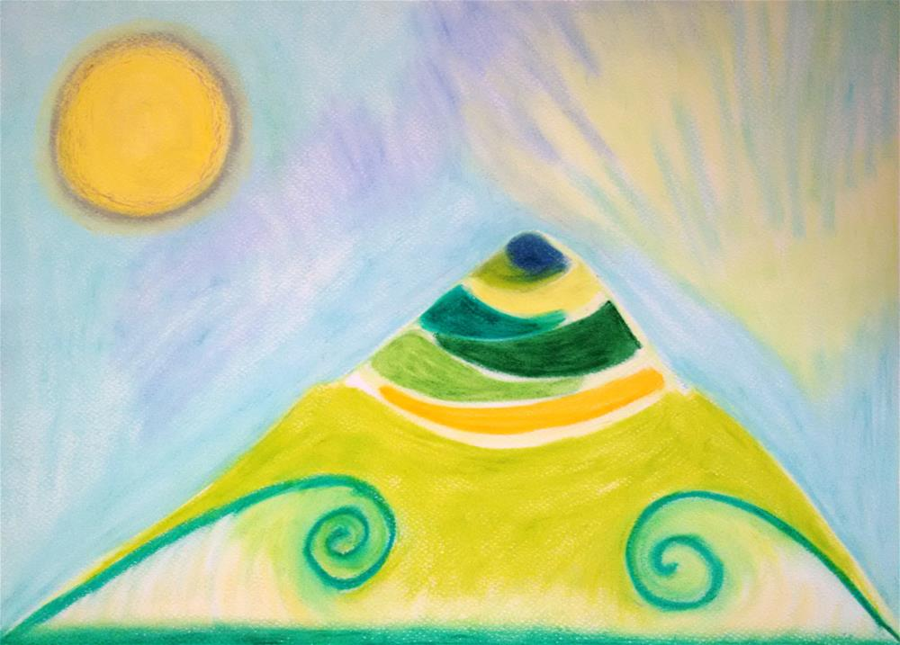 """Sacred Mountain in My Dream"" original fine art by Adéla Svobodová"
