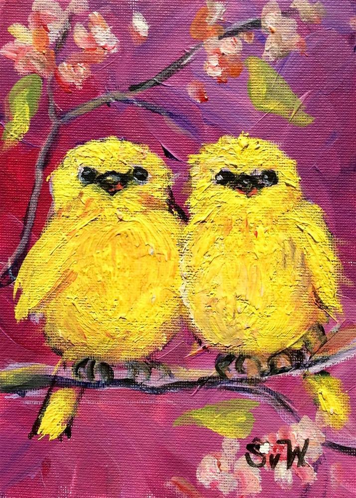 """""""Two love birds painting"""" original fine art by Sonia von Walter"""