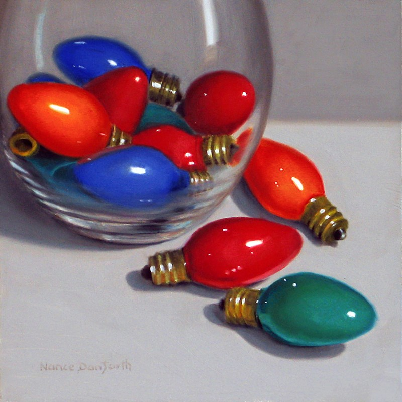 """Christmas Bulbs"" original fine art by Nance Danforth"