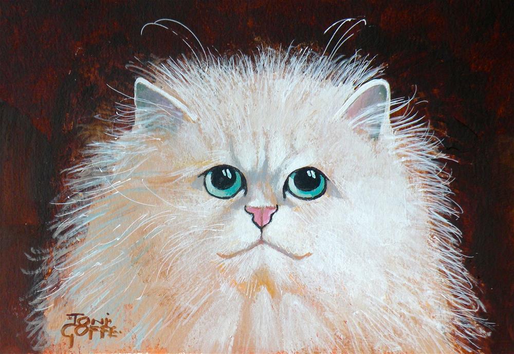 """Grumpy Cat cracks a smile"" original fine art by Toni Goffe"
