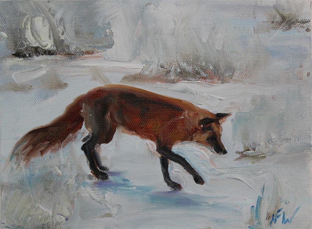 """Fox in the snow"" original fine art by H.F. Wallen"