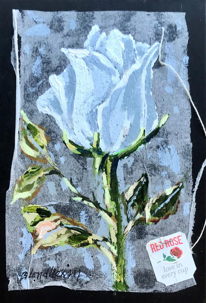 """Tea Bag Painting White Rose"" original fine art by Linda Blondheim"