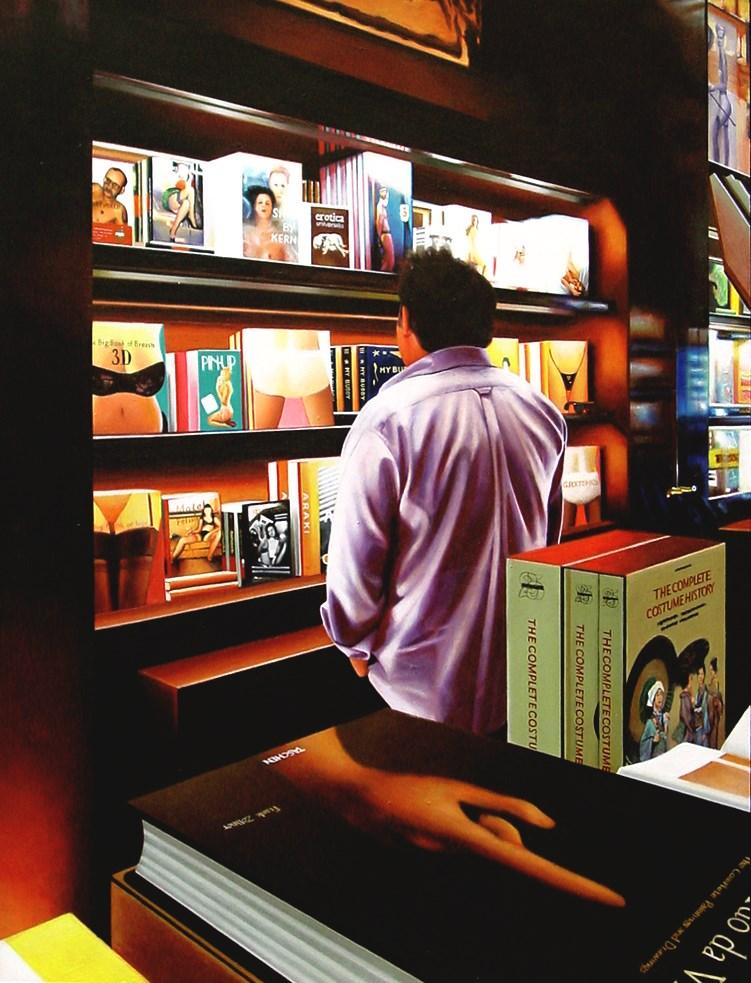 """Big Books- Painting Of Man In Taschen Bookstore"" original fine art by Gerard Boersma"