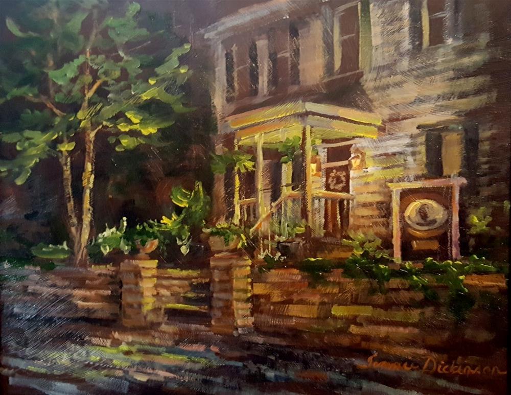 """Lamplight on Lindenhof"" original fine art by Tammie Dickerson"