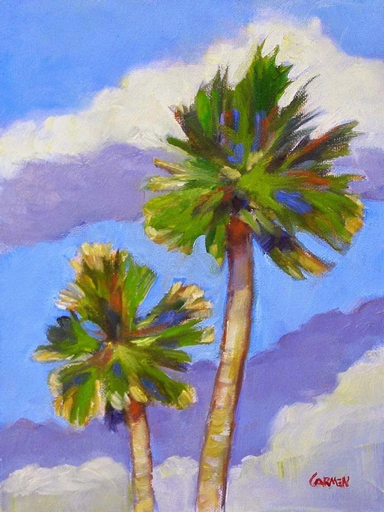 """Two Palms, 6x8 Oil Painting on Panel"" original fine art by Carmen Beecher"