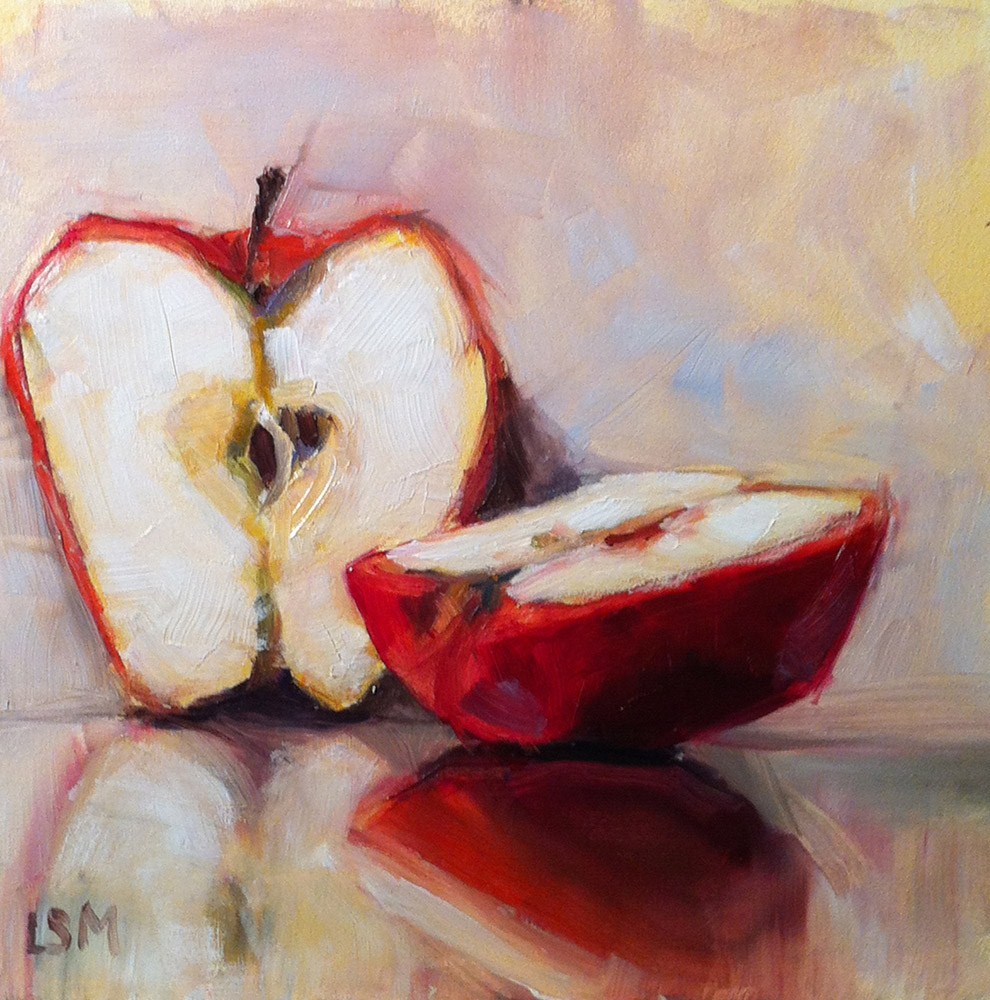 """Apple Sliced"" original fine art by Linda Marino"