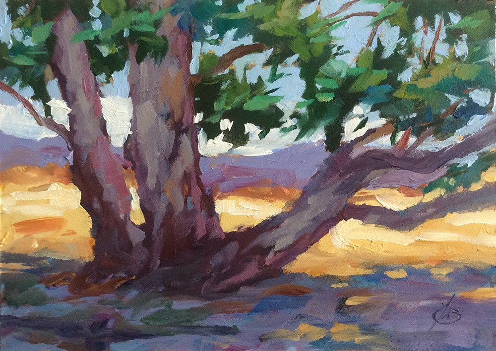 """""ON SYCAMORE HILL, IRVINE REGIONAL PARK"""" original fine art by Tom Brown"