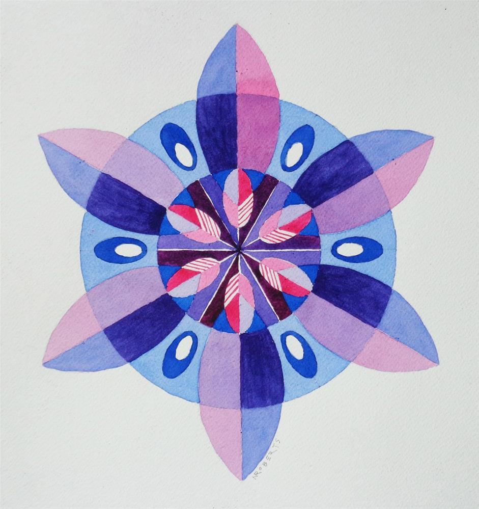 """Red, White and Blue Mandala"" original fine art by Nancy Roberts"
